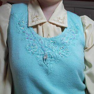 Vintage 80's grandma pearl & sequins teal vest